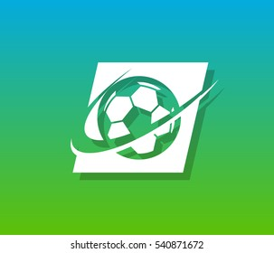 Sport Soccer logo icon with swoosh graphic element
