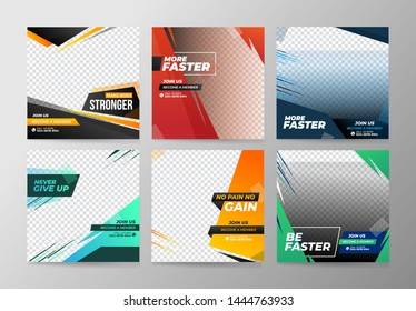 Sport Social Media Banner Template Collection with Unique Style