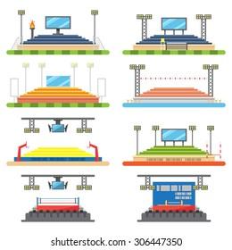 Sport stadium and stage set illustration vector