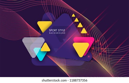 Sport Style Background Bright Textured paper background with multicolored triangles modern dynamic geometric sports background poster for playing football basketball or croquet. Vector illustration.