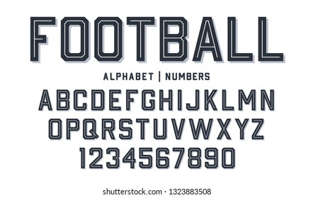 Sport style font. Football style font with lines inside. Athletic style letters and numbers for baseball, basketball and football kit