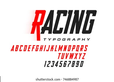 Sport style modern font, condensed typeface vector illustration