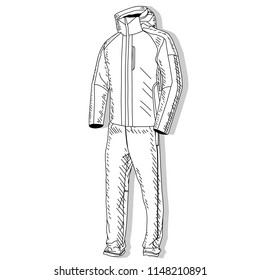 Sport suit. Vector isolated illustration of sport suit monochrome on white.