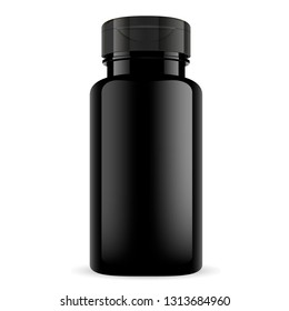Sport Supplement Vitamin Bottle. Glossy Packaging. Medical Pill Container for Herbal Nutrition Capsule. Doctor Therapy Tablet Medicament. Isolated Drug Container Template.