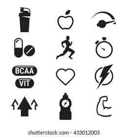 sport supplements: vitamins, pills, energy icons black on white background