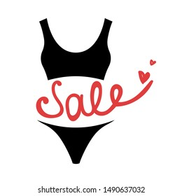 The sport swimsuit. Sale. Lettering. Isolated vector illustration