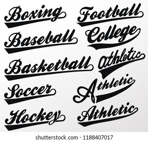 Sport Swooshes set, Underline Swishes tail collection, highlighter marker strokes, Swashes for Athletic Typography T-shirt. Retro Swoop wave line. Vector