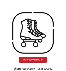 Sport symbol, roller skates outline vector icon