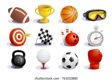 Sport symbols and icons vector set, sport concept objects