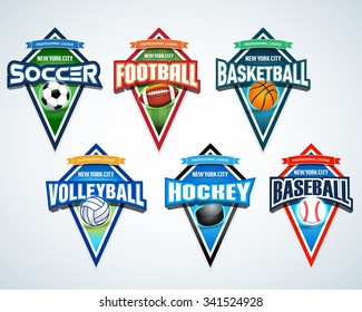 Sport team logo emblems, badge, pennants, t-shirt apparel design templates set. Soccer, American football, Basketball, Volleyball, Hockey, Baseball. Vector abstract isolated illustration