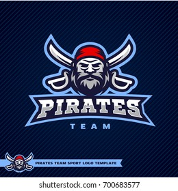 Sport team logo template with image of the pirate mascot with two crossed swords.