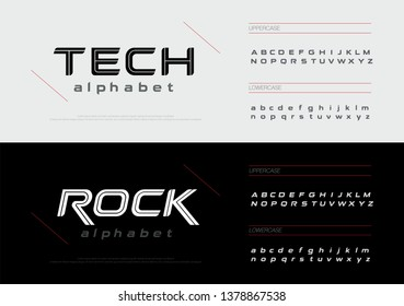 Sport technology alphabet letters font set. Modern lettering designs typography fonts uppercase, lowercase and italic. vector illustration