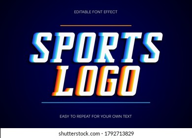 Sport text effect, college style text sans-serif with shadow. Colorful editable font effect. Vector