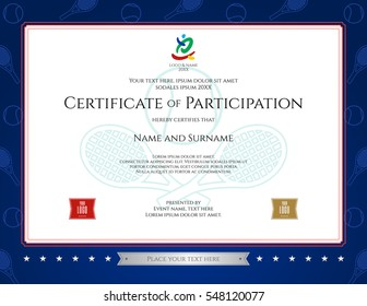 Sports certificate images stock photos vectors shutterstock sport theme certification of participation template for sport or tennis event yelopaper Images