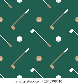 Sport theme seamless pattern, ornament of golf club and golf ball