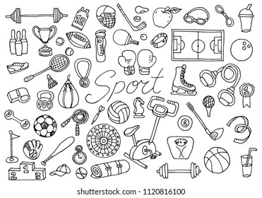 Sport themed set. Active games. Gyms for gymnastics, fitness and lifestyle. doodle elements. Line art for web icons objects and symbols set. engraved hand drawn vintage old sketch for poster or banner