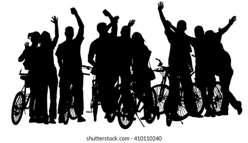 Sport tourist company friends on bicycles . Silhouette biker people, mountainbike crew, backpacks, helmets. Friendship, leisure, summer,  group of smiling friends on city street and waving hands.