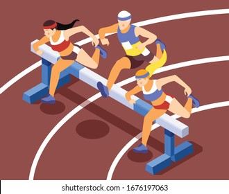 Sport track race competition isometric background compositions with sprinting athletes running hurdles jumping over obstacles vector illustration