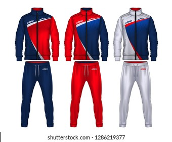 sport track suit design template,jacket and trousers vector illustration,