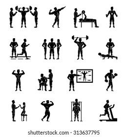 Sport trainer and gym coach white and black set isolated vector illustration