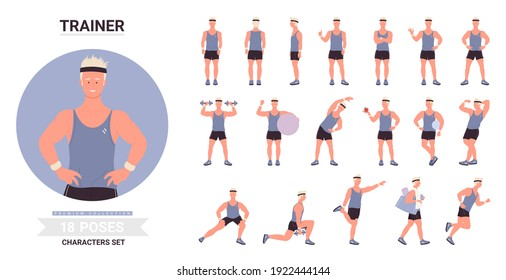 Sport trainer man poses vector illustration set. Cartoon male character showing muscles, posing with ball, exercises with dumbbells, training standing running in different postures isolated on white