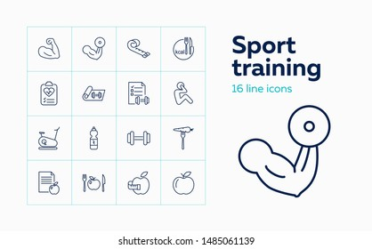 Sport training icons. Set of line icons on white background. Bodybuilding, sport nutrition, dieting. Fitness concept. Vector can be used for topics like sport, healthcare, healthy lifestyle