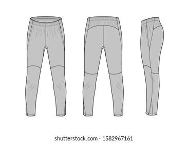 Sport training leg slim pants flat technical template for your design. Vector illustration