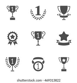 Sport trophy and awards icons. Set of 9 solid vector icons