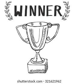 Sport trophy sketch doodle. Hand drawn winners prize on chalkboard background.