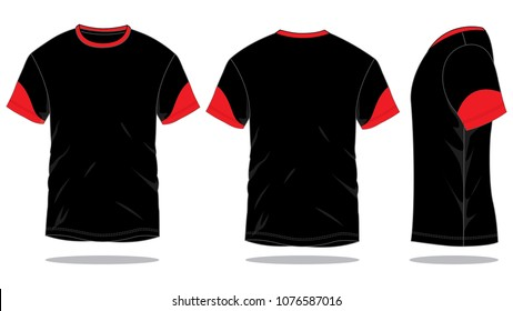 Sport T-Shirt Design With Black/Red Colors Vector.Front ,Back And Side Views.