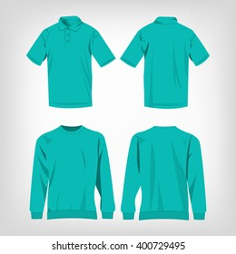 Sport turquoise sweater and polo shirt isolated set vector