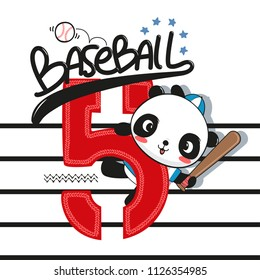 Sport typography design with cute panda baseball player holding bat on striped background illustration vector.