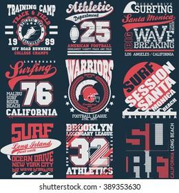 Sport Typography Graphics emblem set, T-shirt Printing Design. Athletic original Vintage Print for sportswear apparel