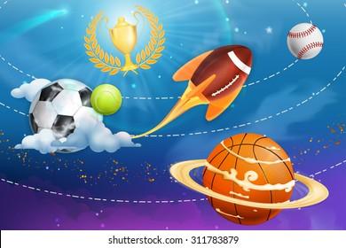 Sport universe, vector background