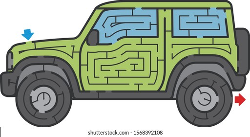 Sport utility vehicle maze. It is suitable for brain training.
