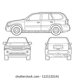 sport utility vehicle (SUV) car front side back drawing outline isolate on white background vector illustrations