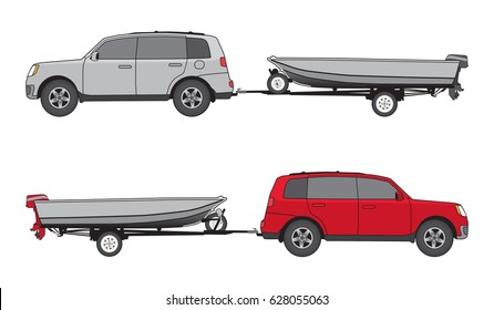 Sport utility vehicle in two different color schemes is towing boat on trailer