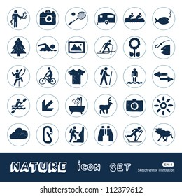 Sport, vacation and nature web icons set. Hand drawn sketch illustration isolated on white background