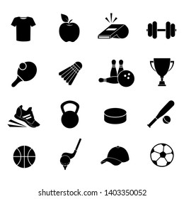 Sport vector icon set isolated on white background.