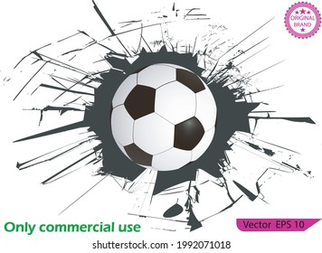 Sport vector illustration with soccer ball coming in cracked wall. Soccer ball and a crack on the glass on transparent background. High resolution. Soccer ball breaking the wall.