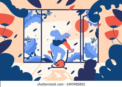 Sport vector illustration with young woman riding exercise stationary bike in room full of leaves and flowers. Large window with open door. Bright training interior scene in blue and orange colors