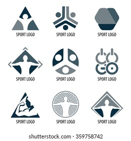 Sport vector sport logos. Abstract logotype organization. Icons for competition. Athletic signs set. Triangular olympic games symbols collection.
