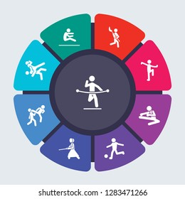 sport vector template for infographics. Business concept with 9 options, steps, parts, segments. Banner infographic cycling diagram, round chart, marathon, long jump, Lacrosse, kung fu icons