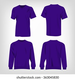 Sport violet t-shirt and sweater isolated set vector