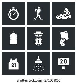 Sport Walking icons: Stopwatch walker shoes drink medal removing shirt shower distance. Vector Illustration.