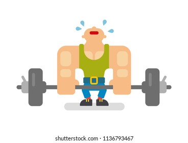sport weight man flat illustration training strong male lifting athlete bodybuilder barbell body shape gym athletic fitness man isolated barbell rod bar sweat perspiration sweating muscle force train