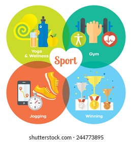 Sport winner concept flat icons of gym, healthy food, metrics. Isolated vector illustration and modern design element
