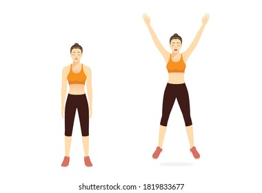 Sport woman doing exercise with jumping jack pose for cardiovascular health and boosting your metabolism. Cartoon for Workout diagram about exercise posture to burn fat.