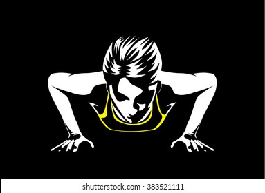 Sport woman doing push ups for muscular build at arm and shoulder. This illustration about sport and healthy.