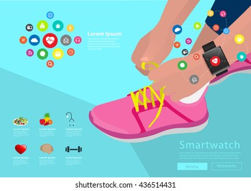 Sport woman hand tying shoelaces wearing touchscreen smartwatch with health sensor applications icons flat design ideas concepts living healthy life, Vector illustration layout template design